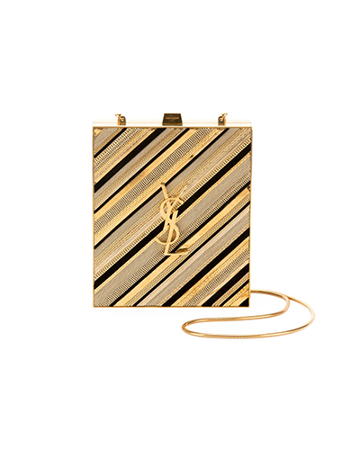SAINT LAURENT  Tuxedo Monogram YSL Chain-Detail Box Minaudiere Clutch Bag