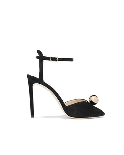 JIMMY CHOO  Sacora 100 Embellished Suede Sandals