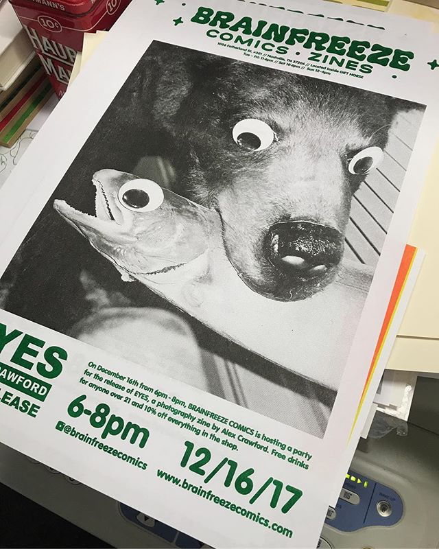 Sick Riso poster by @kangaroopress for the Party next Saturday!! Brainfreeze is releasing EYES, a photo zine by Alex Crawford and we're having a party DEC 16th from 6-8pm at the shop! Free drinks! 10% off! This is the THIRD release from Brainfreeze (pretty cool!) and very happy to be putting out  @alexcrawfordfilm kickass work // Mark your Google Cals, gals! // #brainfreezecomics #brainfreezenashville