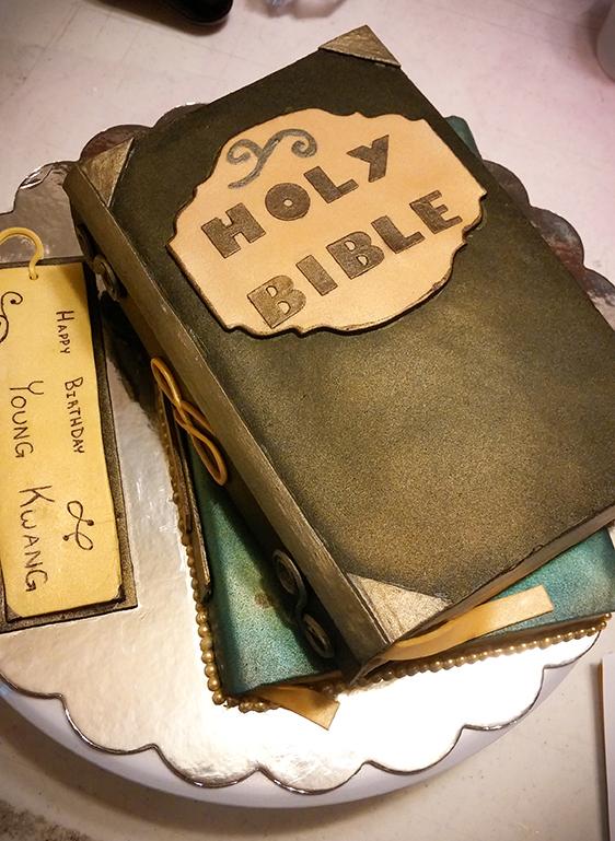 Red velvet Bible birthday cake