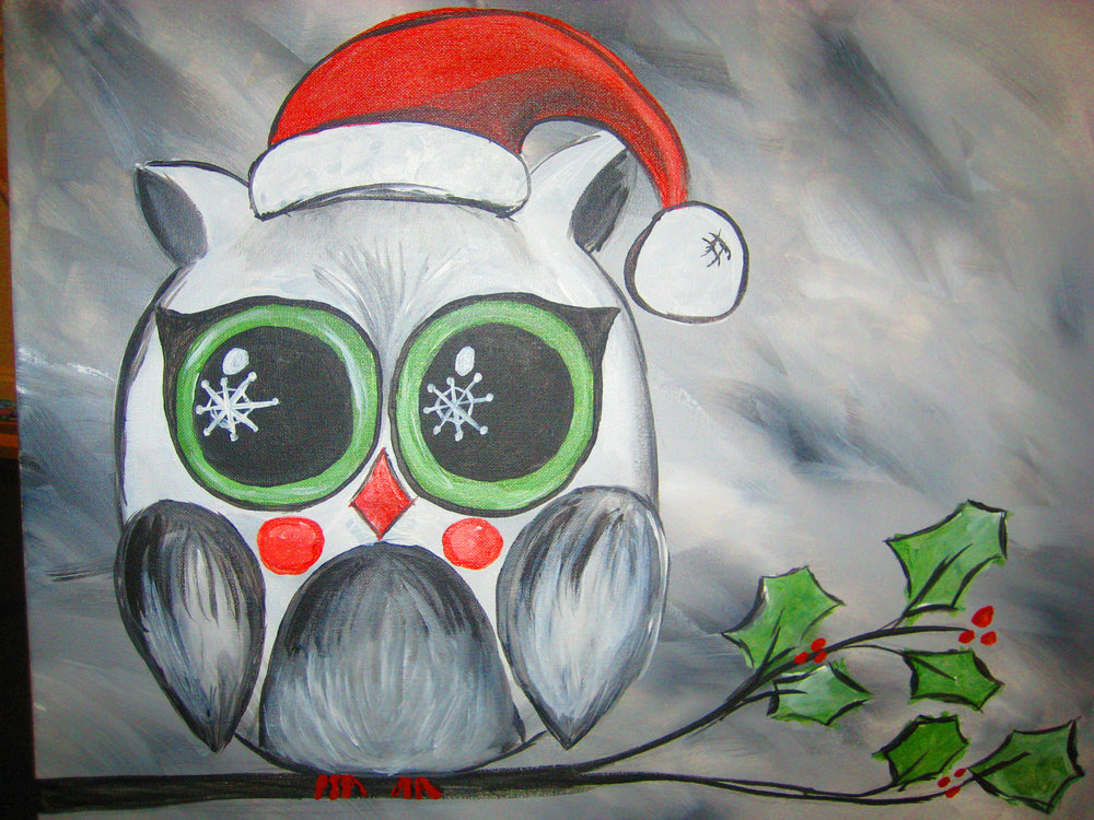 Brewmasters Nc Goldsboro Events Wine And Design Christmas Owl