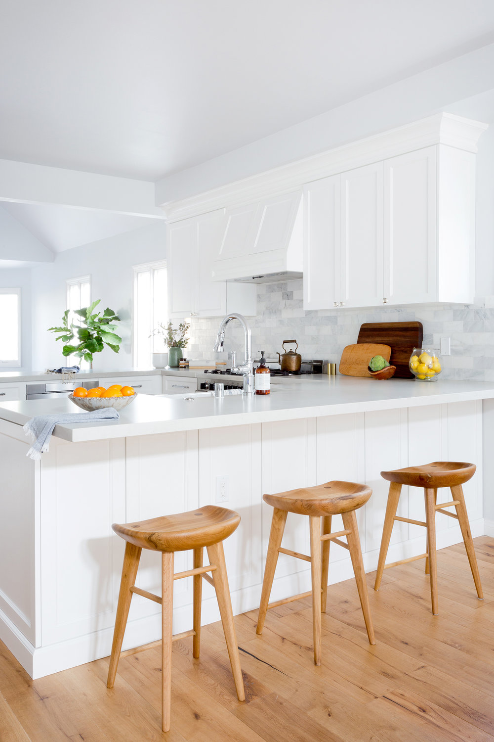 White, warm kitchen design by Carly Waters Style