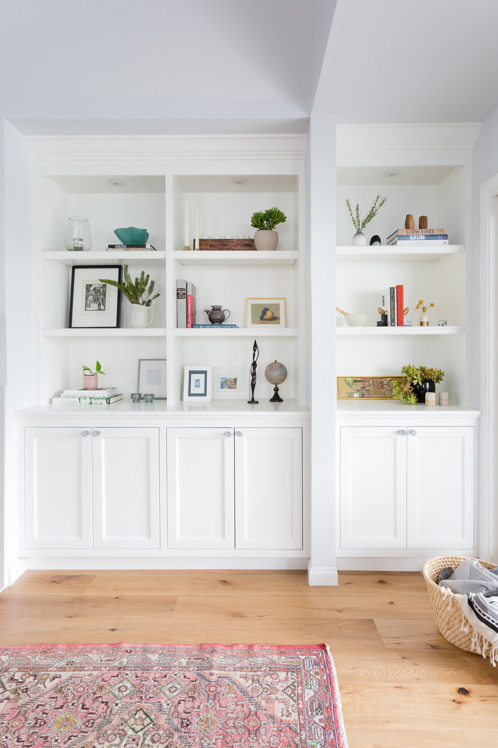 White shelving unit design by Carly Waters Style
