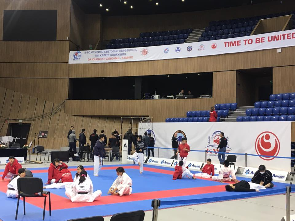 Some of Team Japan warming up early on Day Two