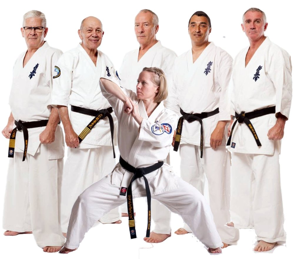 (l-r) Liam Keaveney (7th Dan), Hanshi Steve Arneil (10th Dan), Alex Kerrigan (7th Dan), Janine Davies (6th Dan), Nick Da Costa (6th Dan), Graham Warden (6th Dan)