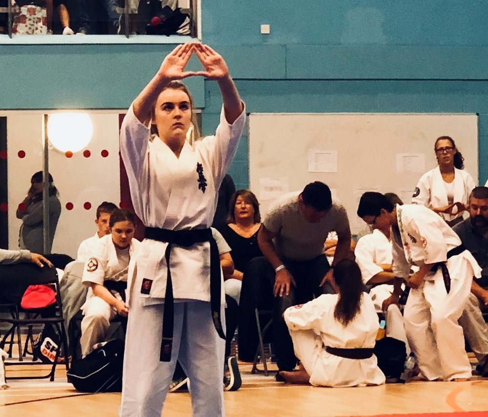 Mia Morgan (BKK Wales) performing Kanku Dai