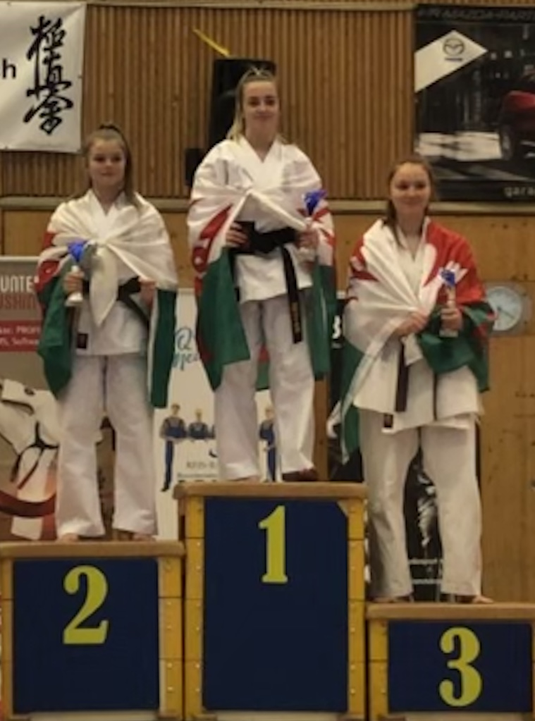 Kata 4th Kyu+:  1st Holly Harvey (Wales), 2nd Seren Harries (Wales) , 3rd Katie Martin (Wales)