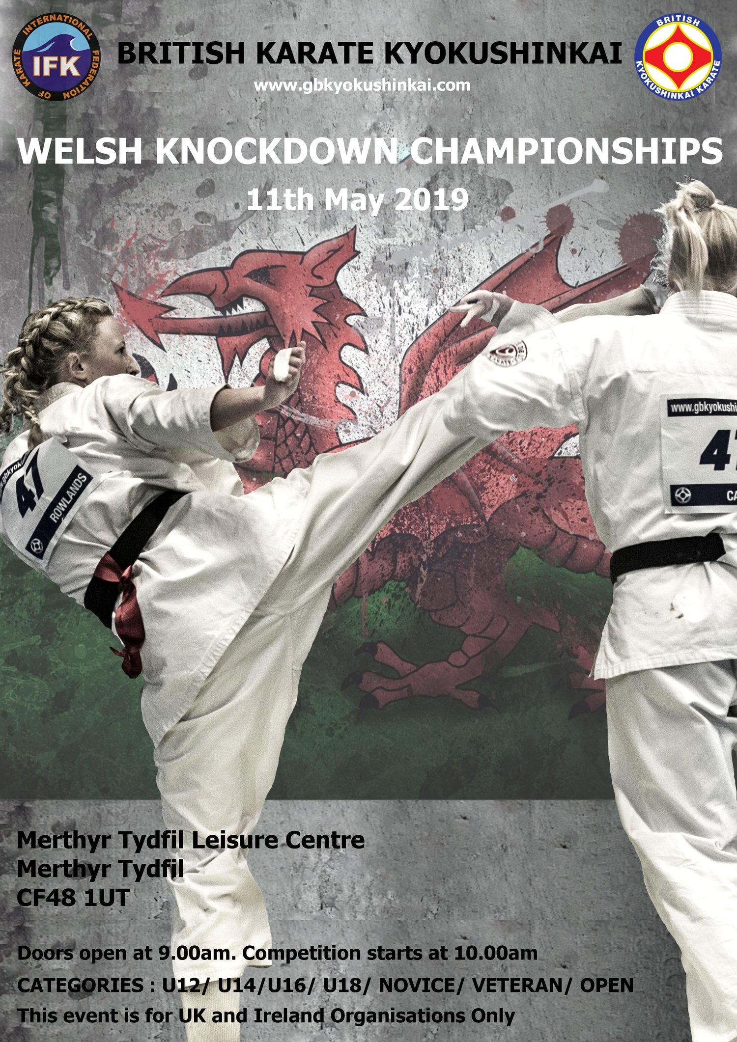Welsh Knockdown Championships 2019 registered fighters and