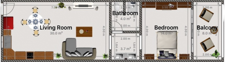 Layout of all second floor units.