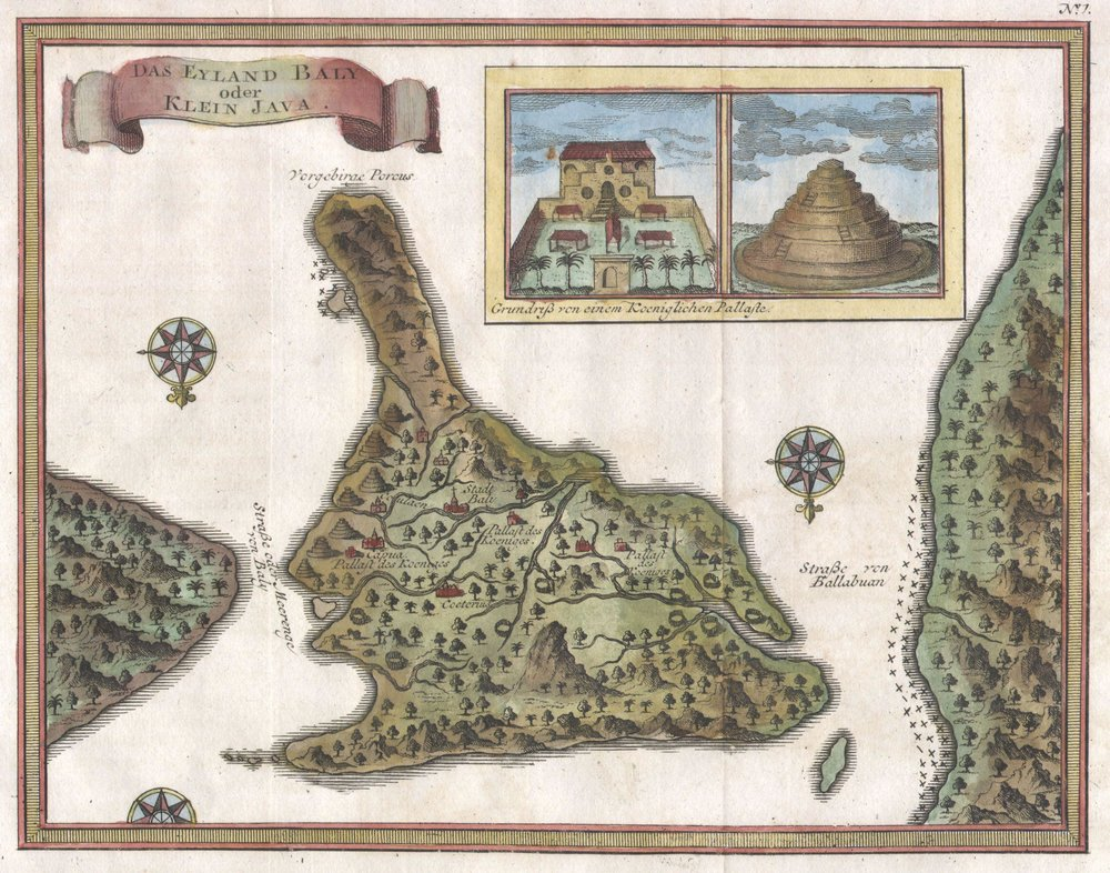 "Map of Bali Created in 1760 by French cartographer J. Nicholas Bellin.  (Note the German in the upper left, ""Das Eyland Baly oder Klein Java"" which translates to ""The Island Baly, or Minor Java"")"
