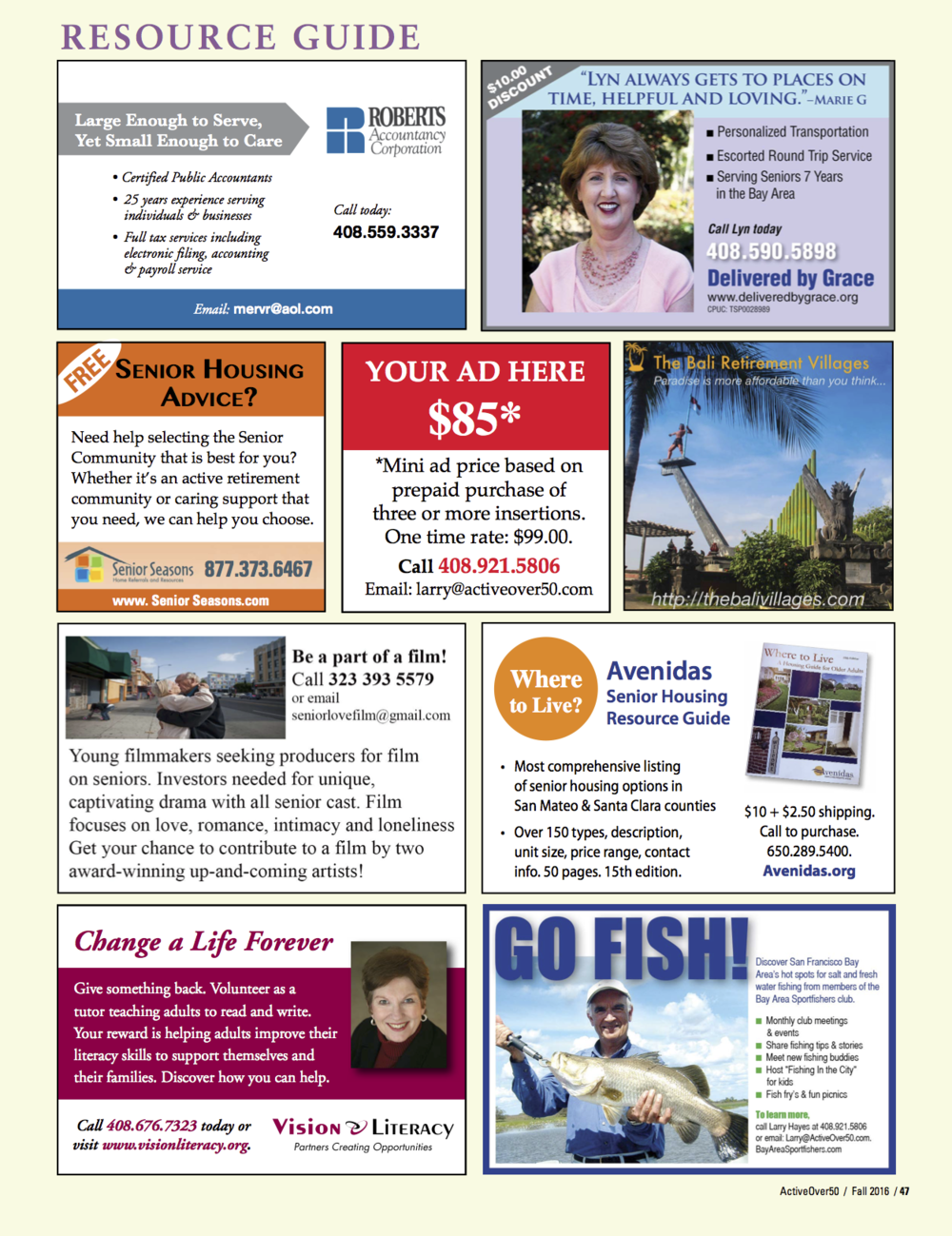 Advertisement featured in the Fall 2016 issue of Active Over 50 Magazine