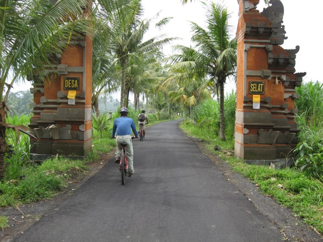 Tourists biking through Selat