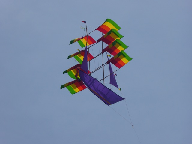 Kite flying over Bali Sea
