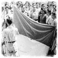 The Flag of Independent Indonesia Being Raised for the first time on August 17th, 1945