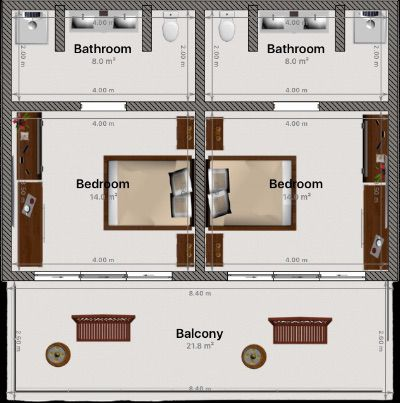 Second Floor Guest Rooms Layout