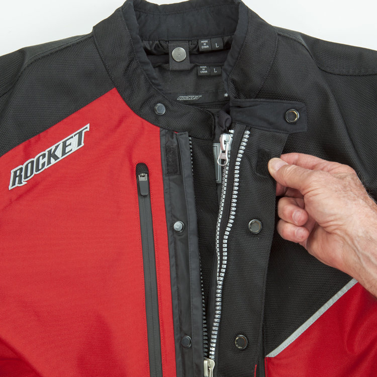 2-Way main zipper with extra large dual closure button secured storm flap - Outer Textile Jacket