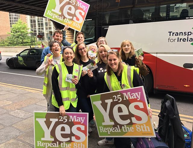 21 hours until polls open. One of the last Early morning @together4yes canvassing at Pearse Street Dart Station. With @emer_the_steamer , @anacosgrave founder of @repealproject & Cara Sanquest @londonirisharc sending solidarity to EVERYONE out on the streets today spreading @together4yes and encouraging people to vote YES on May 25th