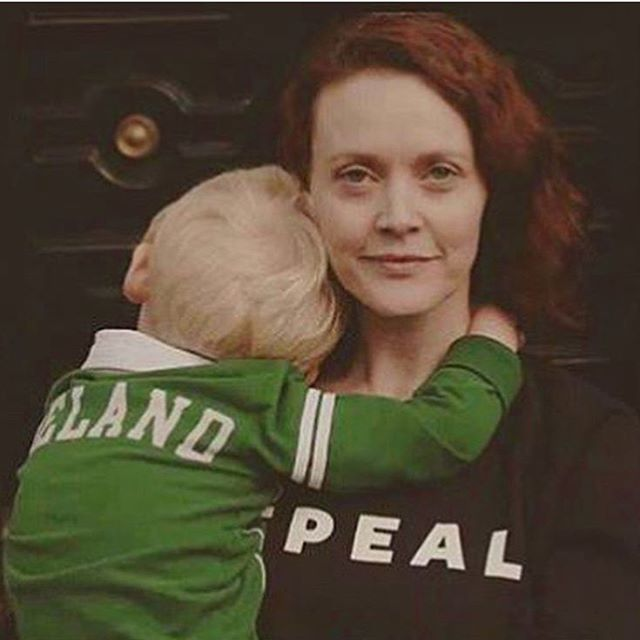 Ireland is @together4yes . 🍀🇮🇪 . Simone and her son from @londonirisharc
