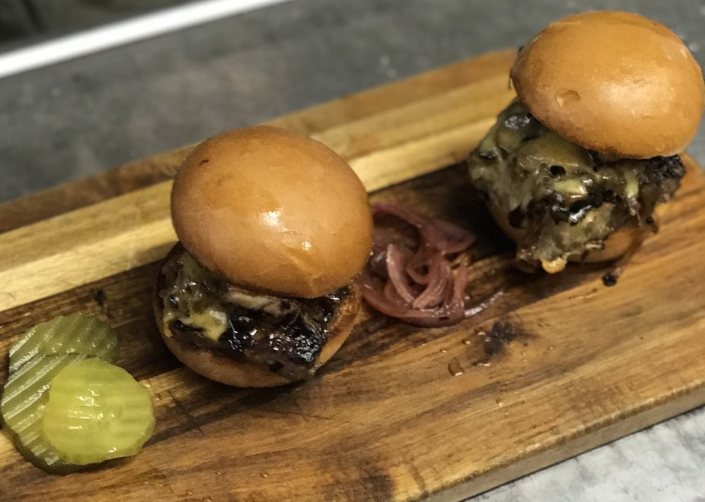 Organic Beef Sliders with Onions + Cheddar