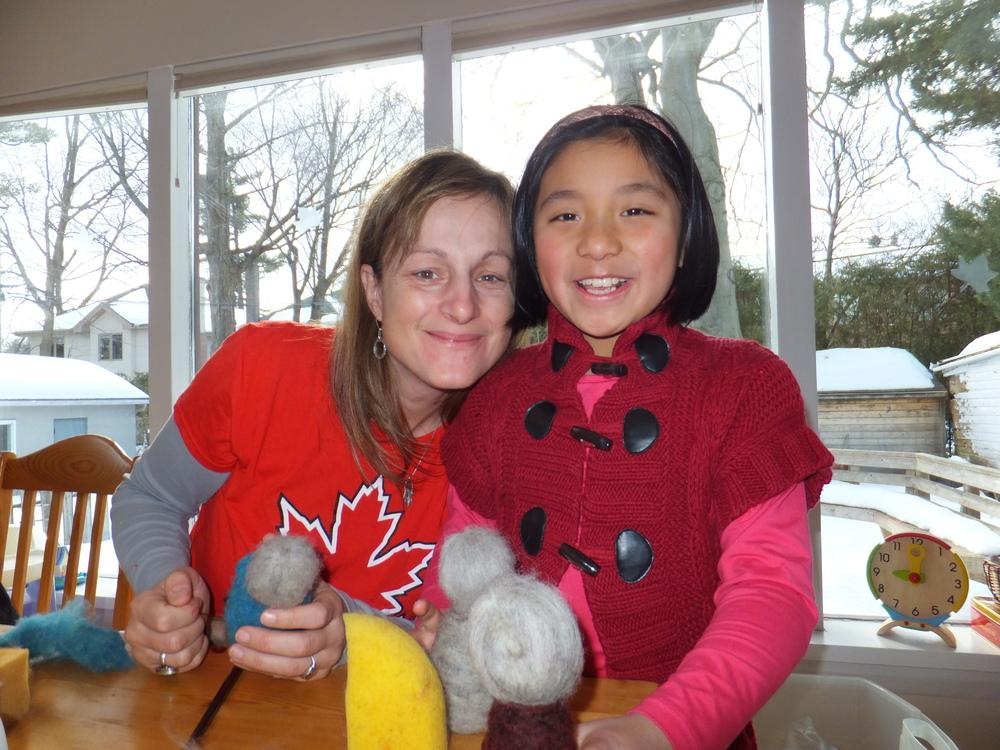 - Annie Bananie and Xue felitng dolls for her birthday
