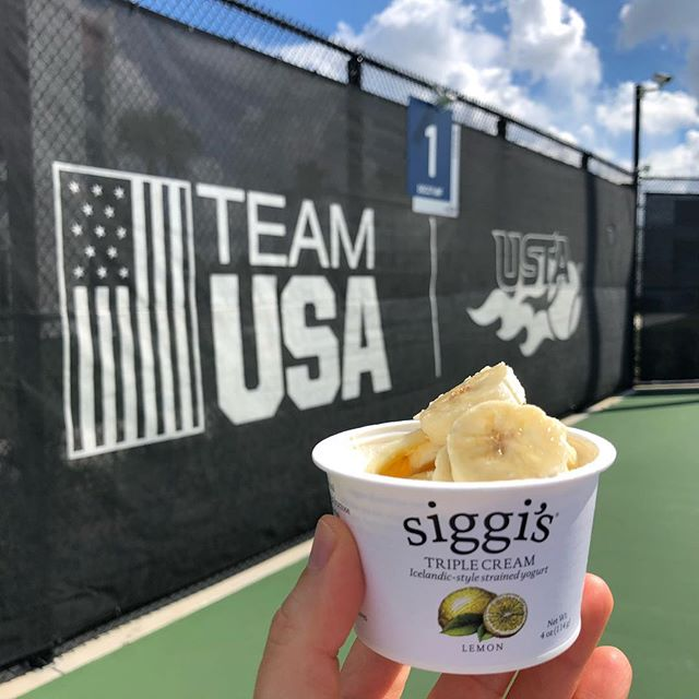 siggi's triple cream—so rich, so creamy, so delicious! • Enjoying a deliciously convenient snack and another beautiful day of work at the USTA #NationalCampus!