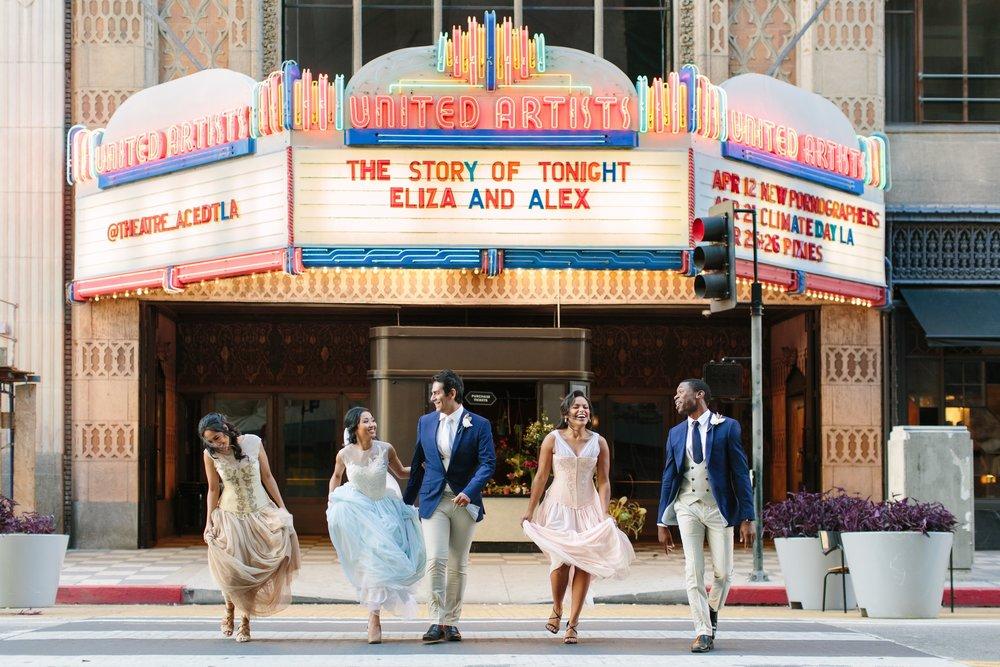 Hamilton Musical Wedding, Themed Wedding, Theatre at Ace Hotel Downtown LA, Bridal Party Portraits, Geek themed wedding, Los Angeles Wedding Planner, Fandom Affairs