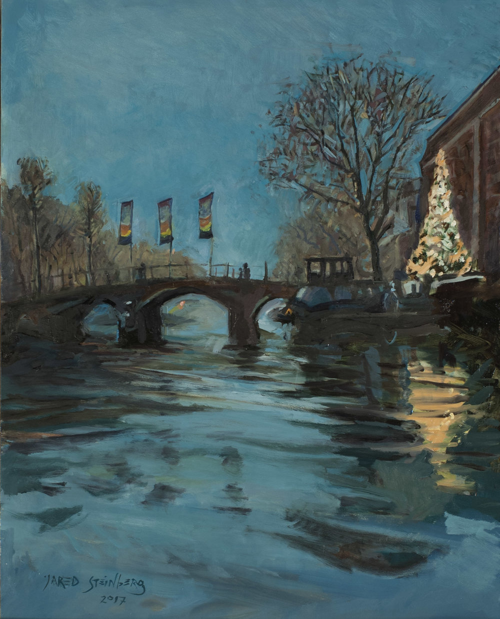 """December in Amsterdam: Oil on Panel"