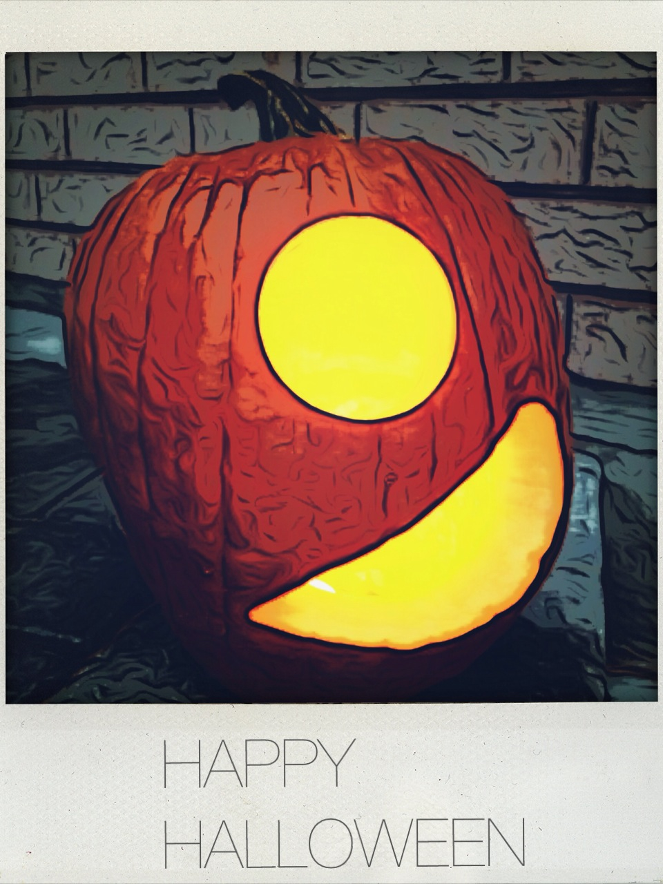 One of our pumpkins this year- shot with the iPhone camera, tweaked in Toonpaint, then Shakeitphoto, text in LineCamera. Cheers!