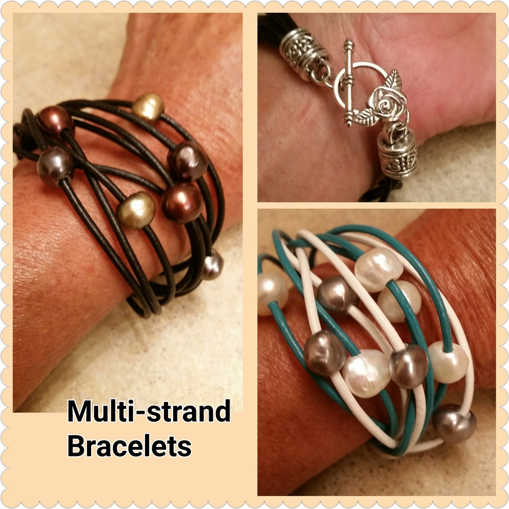 Leather & Pearls Multi-Strand Wrap Bracelet