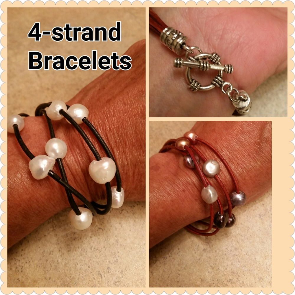 Leather & Pearls 4-Strand Wrap Bracelet