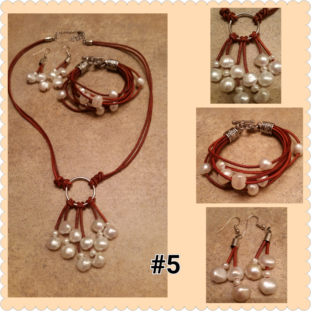 Distressed Brown Leather/White Pearls
