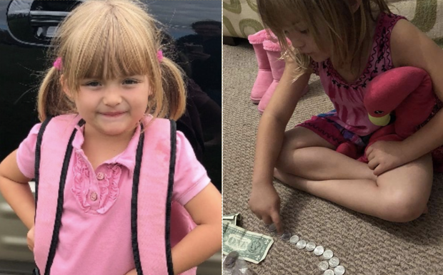 02. - 5-year-old Sunshine Oelfke emptied her piggy bank to pay for her friend who couldn't afford milk.