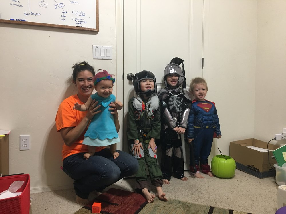 04. - Getting to spend Halloween with my wife, a fighter pilot, a knight, a Superman and a Princess Poppy.
