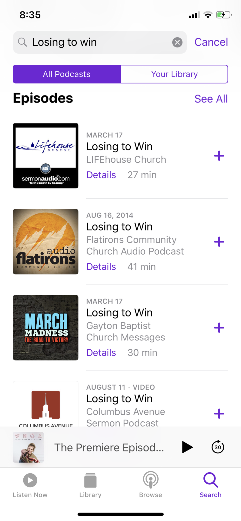 I went for a run. I tried listening to about four sermons, but I wasn't finding them helpful, so I listened to  Sadie Robertson's podcast instead .
