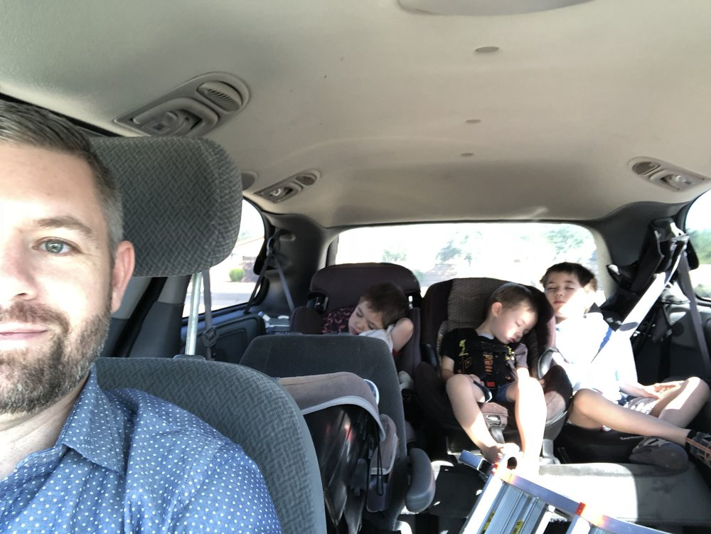 When my kids fall asleep, I know the sermon is deep 😂. *This photo was taken on our way home from church. Don't ask why we have a ladder in our van. I'm not sure either.