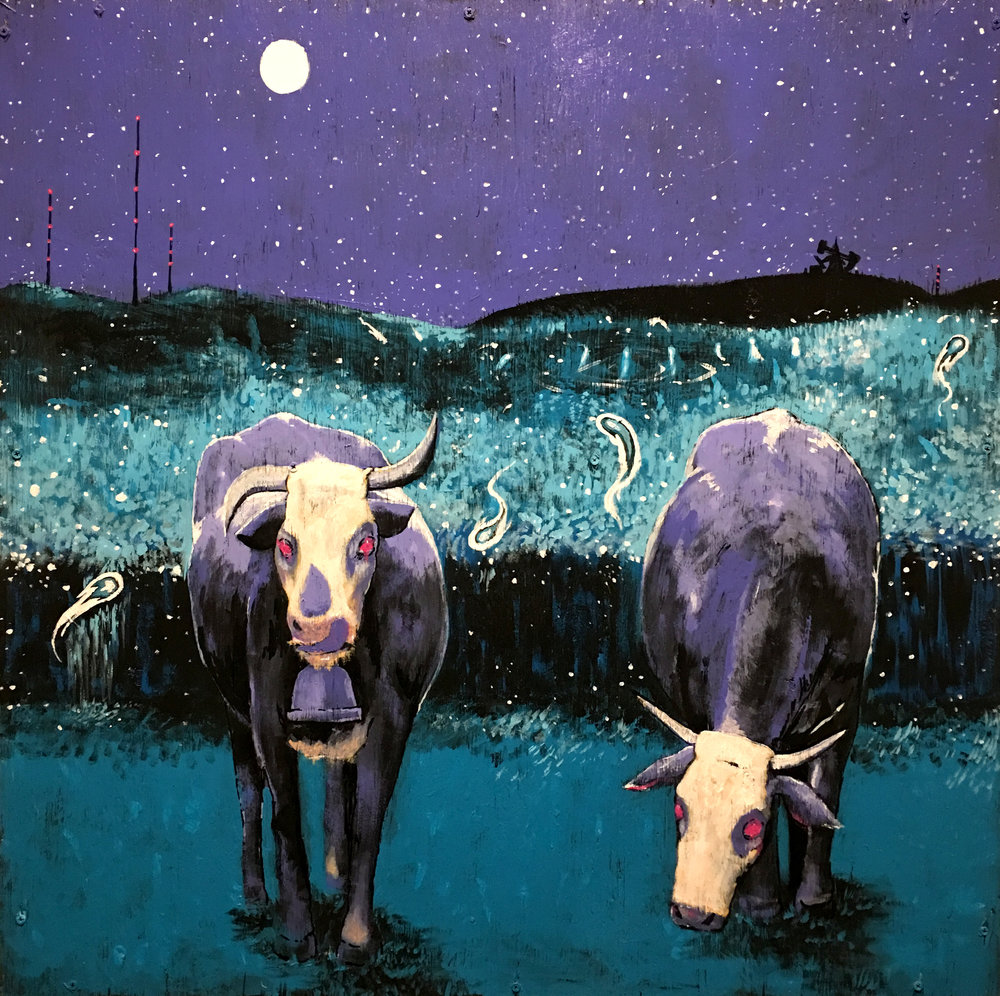 Cows, Acrylic on Wood, 'Shadow Work' 2018