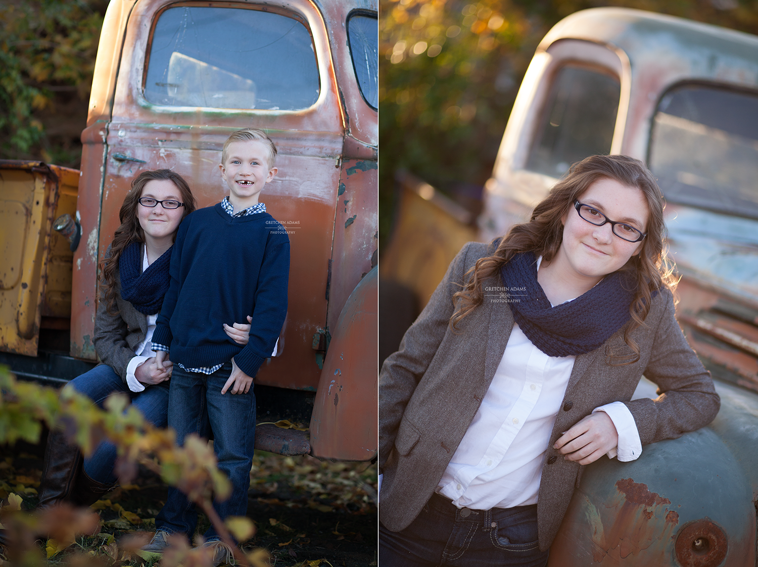 outdoor portraits of kids by old vintage truck walnut creek ca gretchen adams photography