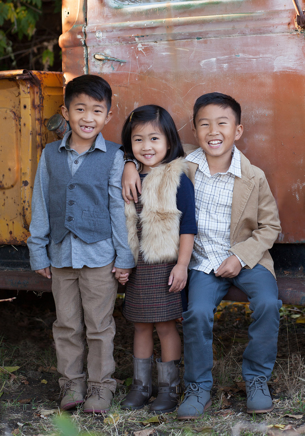 siblings portrait by vintage truck bay area, ca