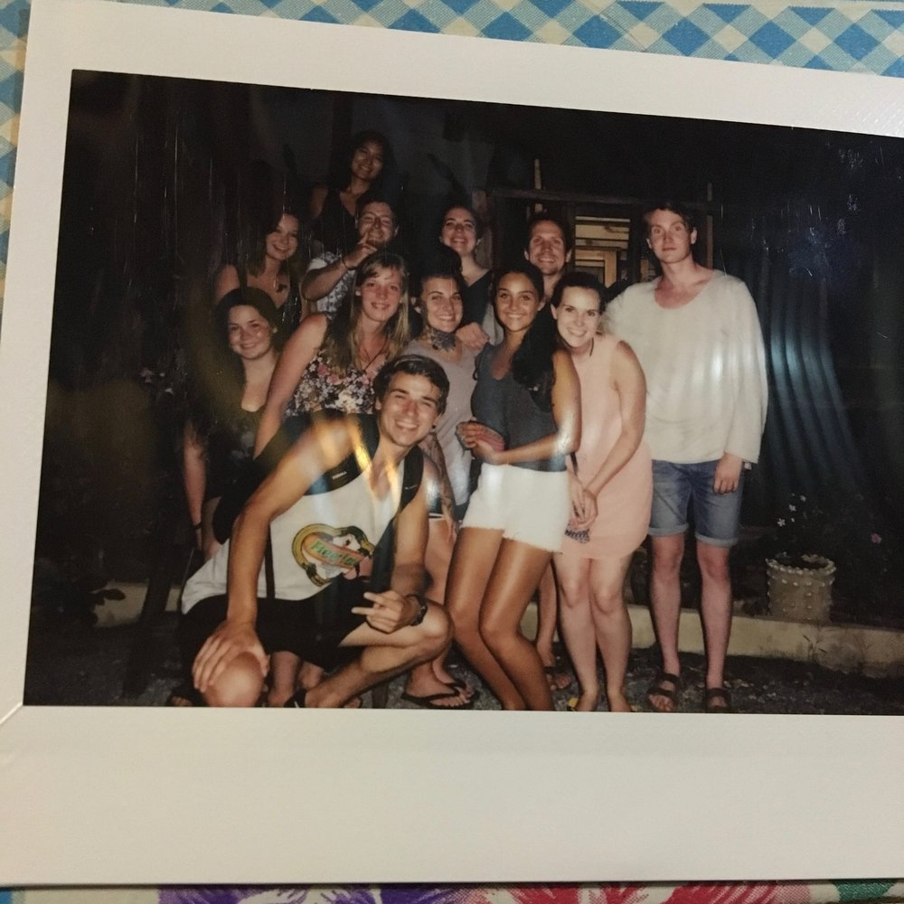 A polaroid of my Laos crew and me! I love them so much.  All of us were initially solo travelers.