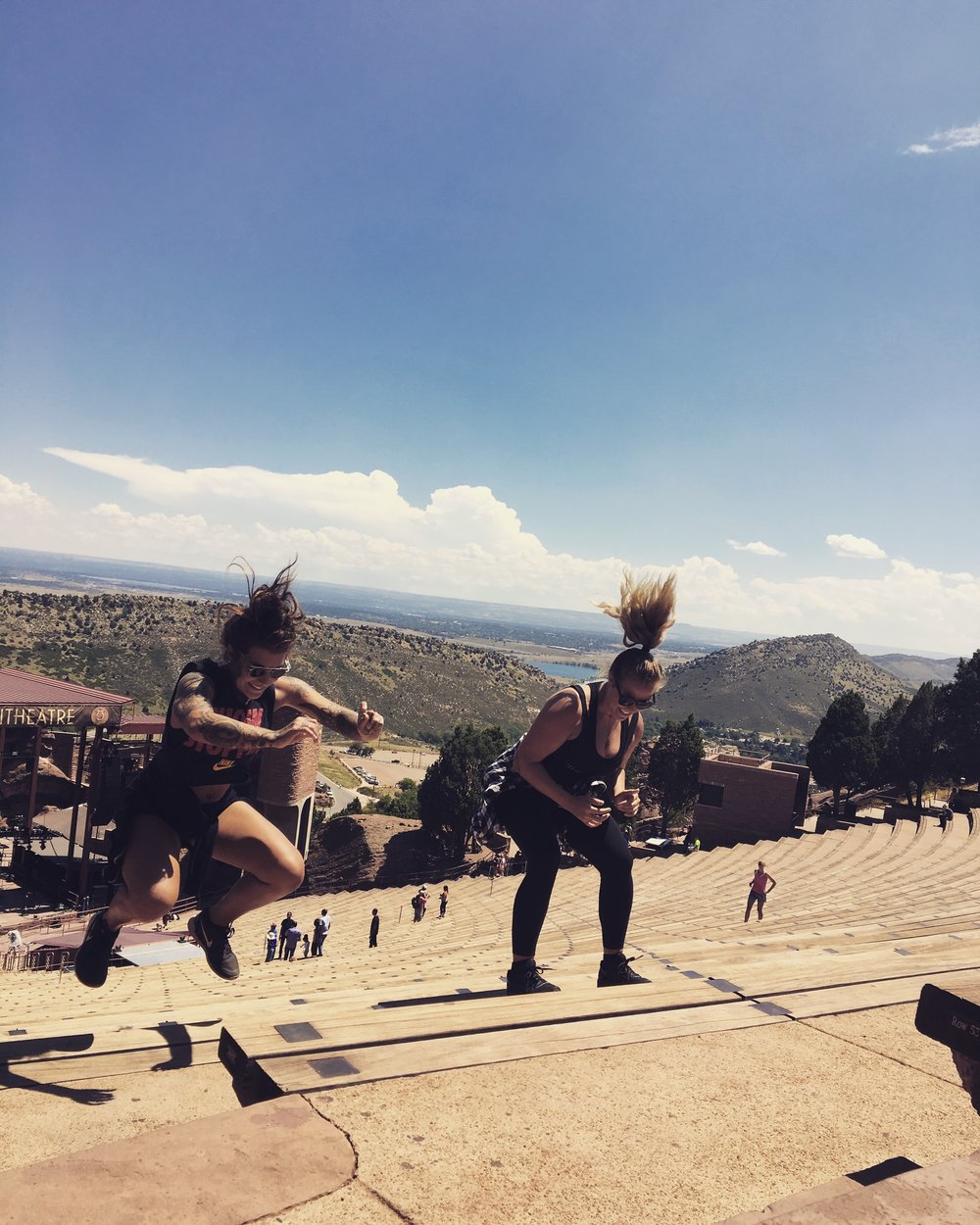 Shayna and I did stadiums & squat jumps at Red Rocks, Colorado. They were SO hard.