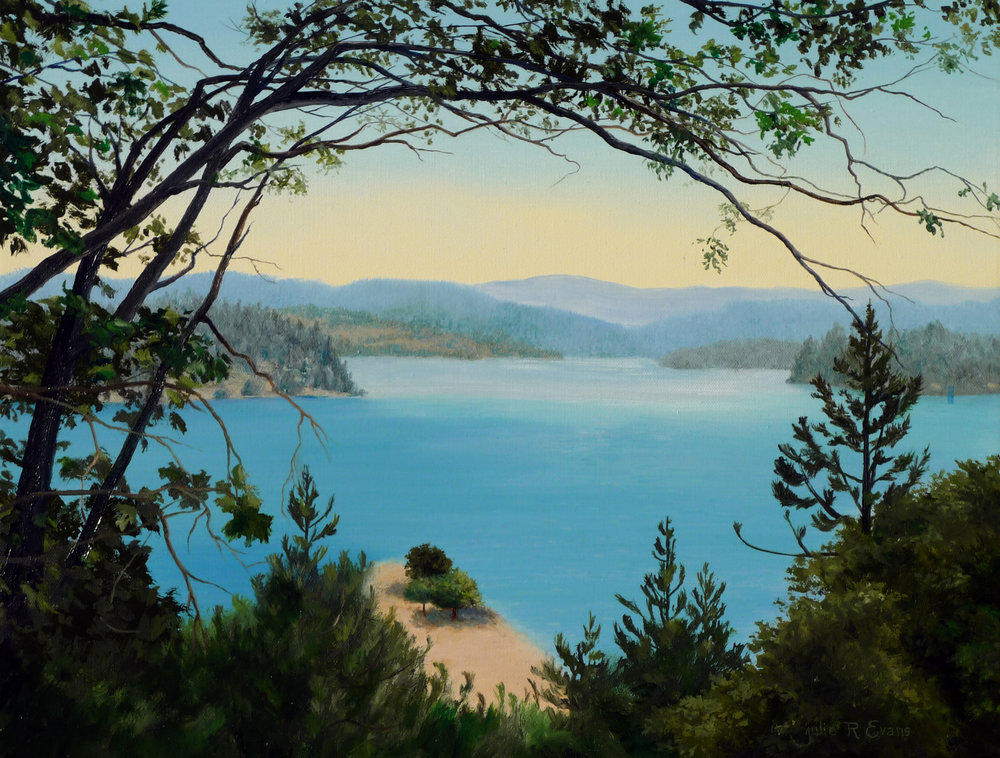 Julie R Evans - Oil Lake Arrowhead through the Trees
