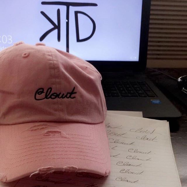 Clout /klout/ (noun) - influence or power | #hat #hats #dadhats #dadhat #bape #supreme #offwhite #streetwear #streetfashion #fashion #style #apparel #simple #original #handdrawn #ktd #clout #pink