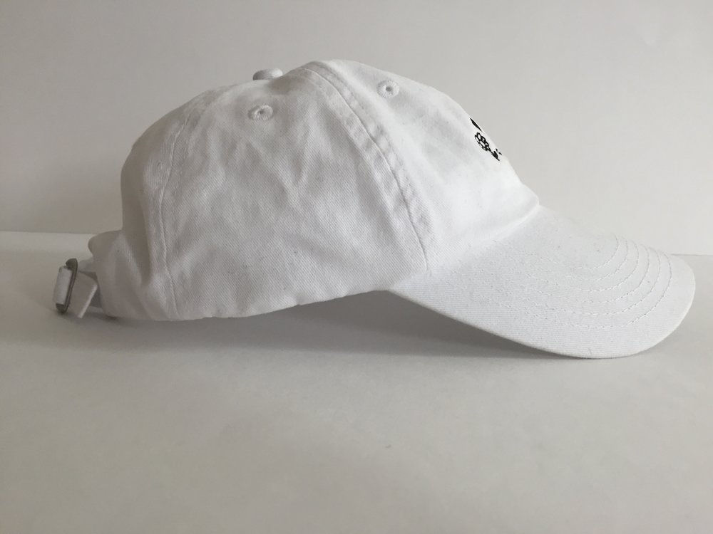 "White ""Peaceful Saigo"" dad hat (side)"