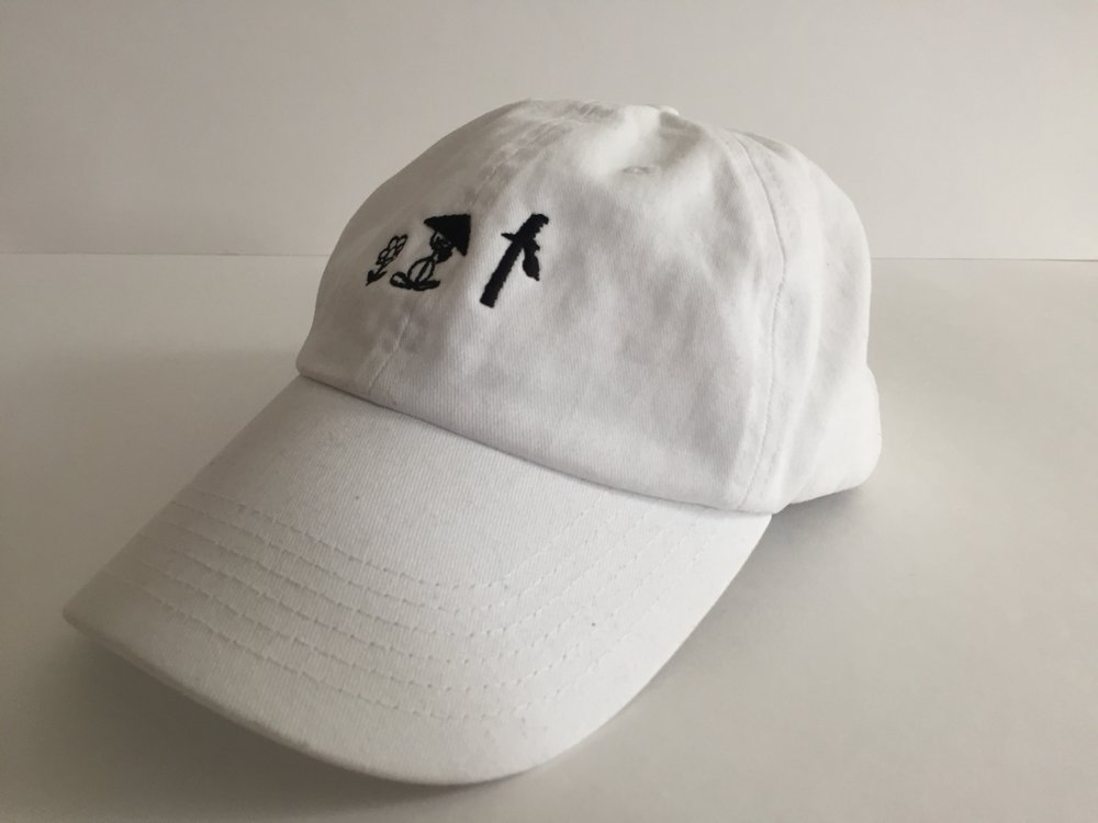 "White ""Peaceful Saigo"" dad hat (front)"