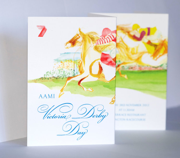 Jessica Brennan illustration for PRIME 7 Melbourne Cup corporate invitation