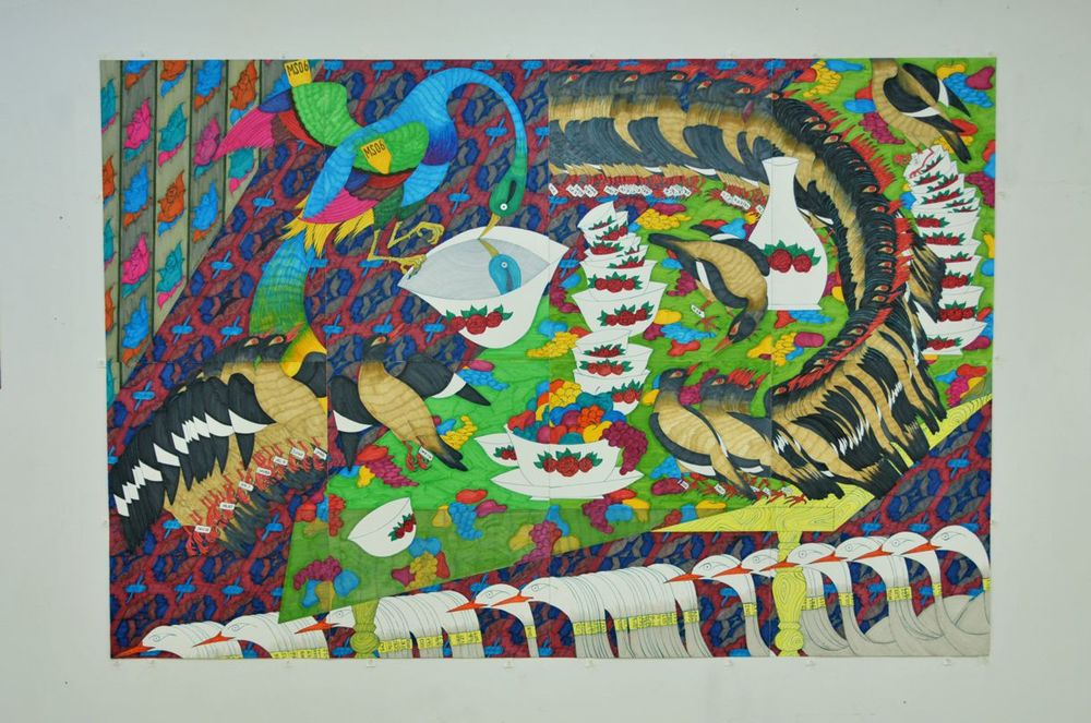 Marker on watercolor paper, 88x60 inches (eight 22x30-inch papers)