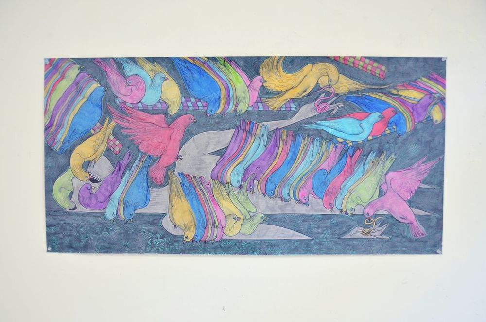 Marker on tracing paper, 24x60 inches