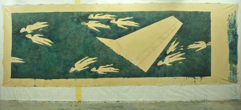 Plane crash Ink, Acrylic and tea on raw canvas, 600x200 cm