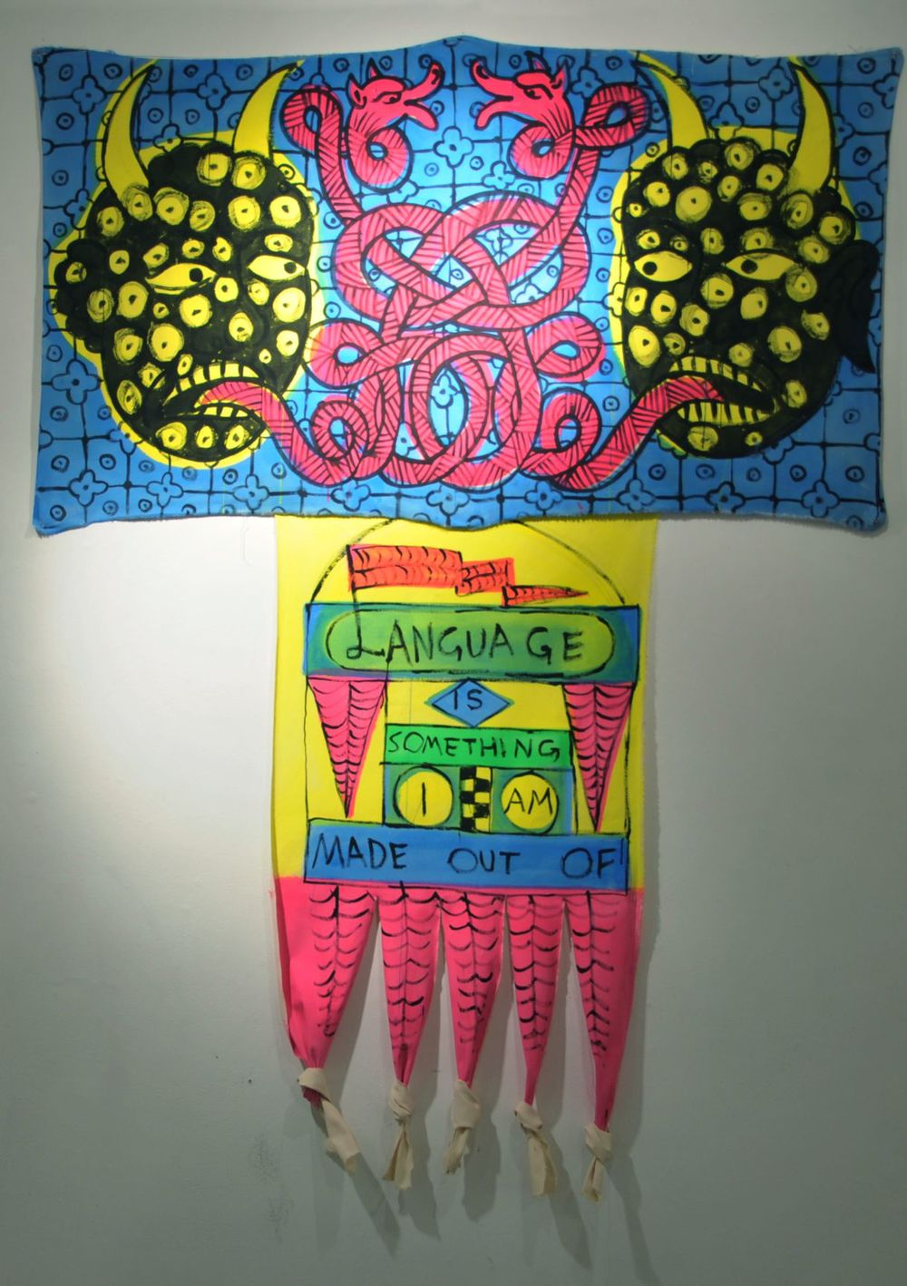Language is something I am made out of Ink and florescent vinyl paint on raw canvas, 160x200 cm