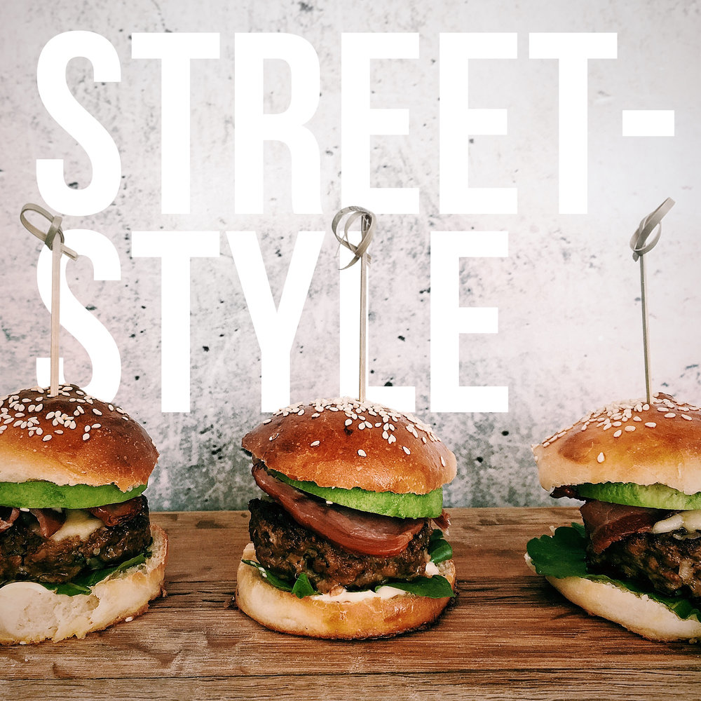 burger sliders 'fab' feta avo bacon and kewpie mayonnaise